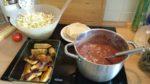 gallo pinto, tostones, puré de frijoles, bananas horneadas, obstteller